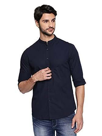 Dennis Lingo Men's Plain Slim Fit Casual Shirt (C201_Blue_Small)