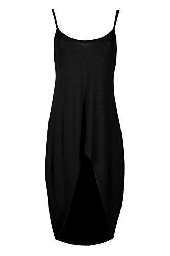 Damen Freizeit Party Riemchen Enganliegend Einfarbig Dehnbar Hoch Niedrig Unterhemd Mini Top Kleid Schwarz