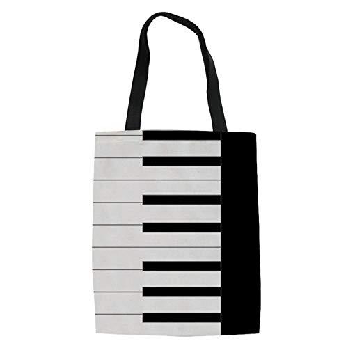 Cartoon-muster Leinwand (SHOUTIBAOBAO Handtasche Leinwand,3D Cartoon Piano Muster Druck Leinwand Mode Frauen Multifunktions Top-Griff Taschen Shopping Strand Umhängetaschen Für Profil)