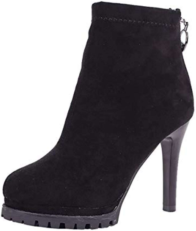 HBDLH Chaussures Femmes/L'Automne l'hiver 11Cm Talon Haut Talon... Chaussures Étanches Court Martin Bottes Mince Talon... Haut 58619a