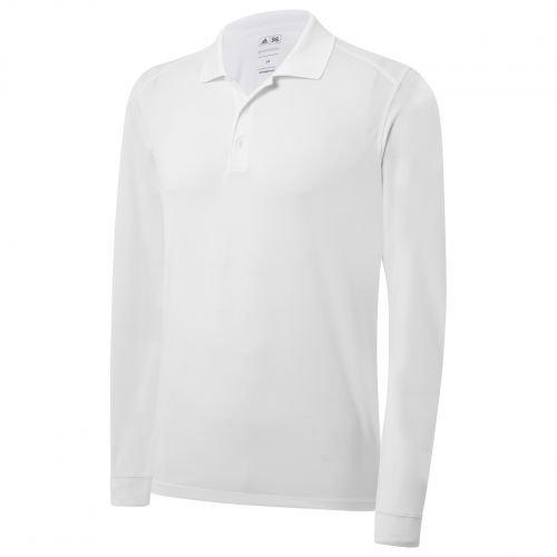 Adidas Climalite Long Sleeve Stretch Pique Polo da uomo bianco, M