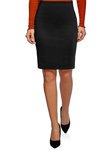 oodji Ultra Mujer Falda-Lápiz de Punto, Negro, ES 42 / L