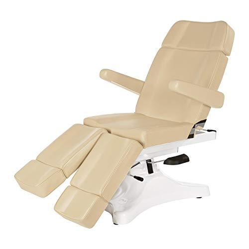 Physa NIVEUS Fußpflegestuhl Kosmetikliege Behandlungsliege (hydraulisch, 55-76 cm, 3 Zonen, einzeln bewegliche Beinablagen) Beige -