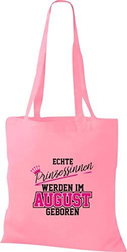 Shirtstown Stoffbeutel Echte Prinzessinnen werden im AUGUST geboren, rosa