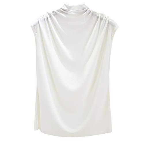 QingJiu Damen Frauen Rollkragenpullover ärmellose Baumwolle Feste beiläufige lose Tunika Unterhemd Top T Shirt Tank Weste Leibchen