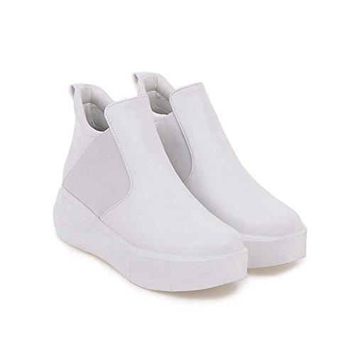 AllhqFashion Damen Ziehen Auf Rund Zehe Mittler Absatz Niedrig-Spitze Stiefel Weiß