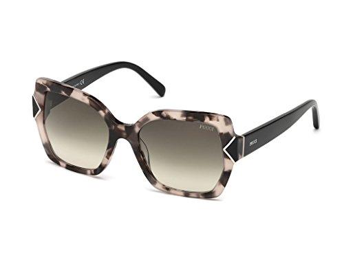 Emilio pucci ep0070 55b 56, occhiali da sole unisex adulto, avana colorata\fumo grad