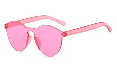 HUOYAN Sommer Randlose Sonnenbrille Frauen Transparente Schatten Sonnenbrille Coole Farbe UV400 (Lenses Color : C7) -