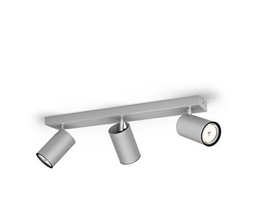 Faretto Led Spot.Philips Lighting Aluminium Led Spot Light Philips Faretto Kosipo Con 3 Punti Luce Alluminio Attacco Gu10 Lampadina Non Inclusa Grigio 7x44 3x9 2