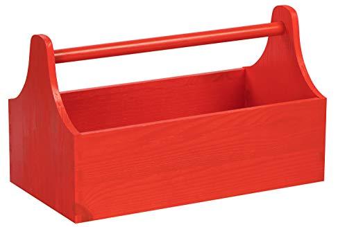 LAUBLUST Große Werkzeugkiste mit Griff - 34 x 18 x 20 cm, Rot, FSC® | Aufbewahrungs-Kiste aus Holz | Geschenkverpackung | Blumen-Kasten | Dekobox | Bastel-Kasten | Spielzeugtrage | Flaschen-Korb