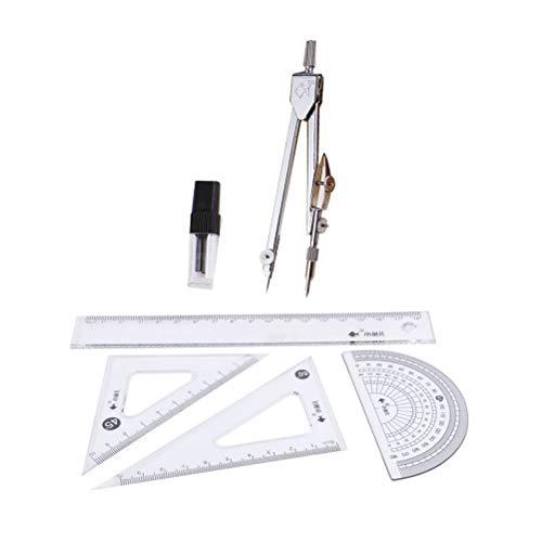 NUOBESTY 6pcs Mathematik Geometrie Kit Kompasse Lineal Anzug Geometrie Schreibwaren Set enthält 1 Metallkompasse, 1 Bleistiftmine, 4 Lineale
