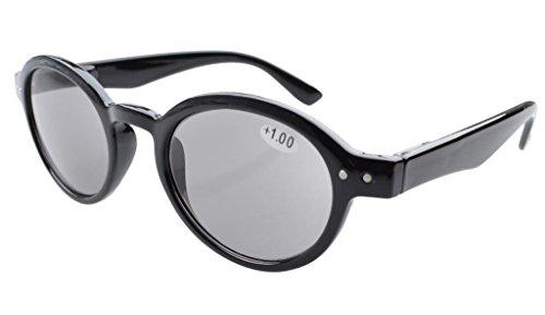 Eyekepper Federscharniere Runde Retro Lese Sonnenbrille Grau Linse +2.25