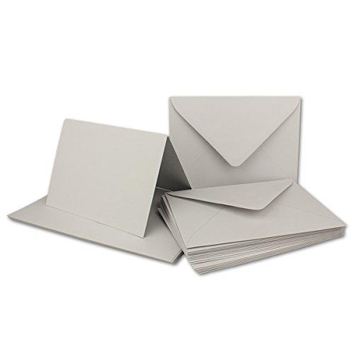 DIN B6 Faltkarten SET mit Umschlägen | Hellgrau | 25 Sets | 115 x 170 mm | ideal für Einladungskarten, Hochzeit, Taufe, Kommunion, Konfirmation | formstabil | Marke: FarbenFroh®
