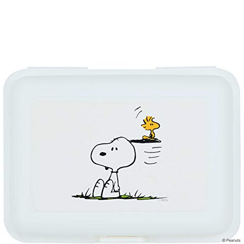 BUTLERS Peanuts Brotdose Snoopy & Woodstock 17,5x12,8x6,9 in Wei? mit Comic-Druck - Vorratsdose mit Deckel, Brotbox (Woodstock Hund Spielzeug)