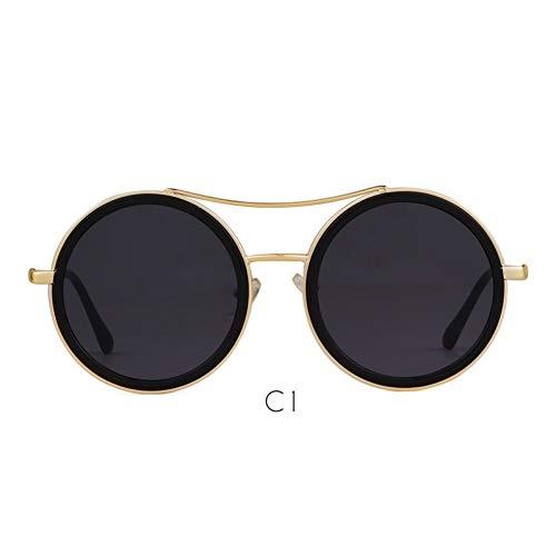 ZRTYJ Sonnenbrille Rot Grün Runde Sonnenbrille Frauen Markendesigner Metallrahmen Weibliche 90 S Sonnenbrille Vintage Retro Shades Geschenk