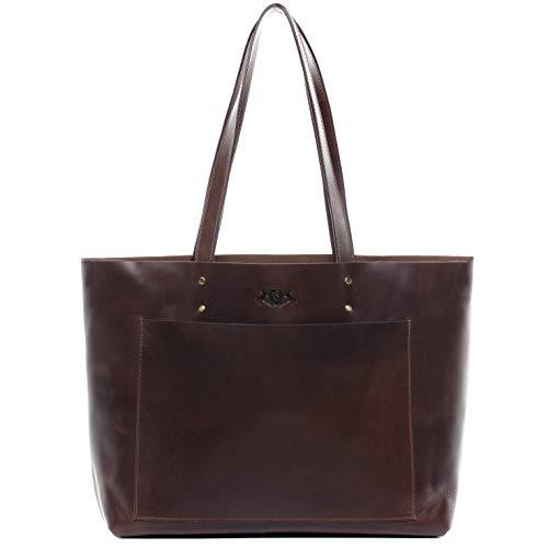 SID & VAIN Handtasche echt Leder Piper XL groß Ledertasche Henkeltasche Ledertasche Damen braun -