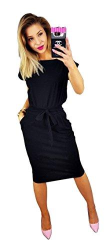 es Kurzärmeliges Kleid für Freizeit und Arbeit mit Gürtel Schwarz-XL (Klassisches Kleid Bis)