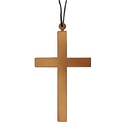 (Rosa Schleife Priest Jesus Christus Ordensschwester Holz Kreuz Pendent Gold Halskette für Halloweenkostüm Cosplay Tanz-Parties (Holz Kreuz Halskette))