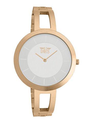 Davis 1836 - Reloj de pulsera Mujer, Chapado en acero inoxidable, color dorado