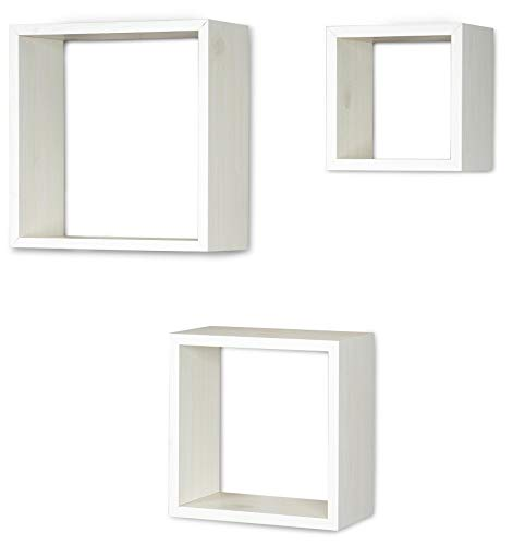 3er Set Cube Wandregal Regal 25cm 20cm 15cm Holz Ahorn Dekor Weiß Würfelregal Hängeregal Wanddeko Dekoregal -