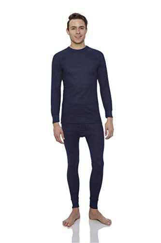 Knit Long Johns (Rocky® Men's Thermal Long John Underwear 2Pc Set Waffle Knit Top and Bottom (2Xlarge, Navy))
