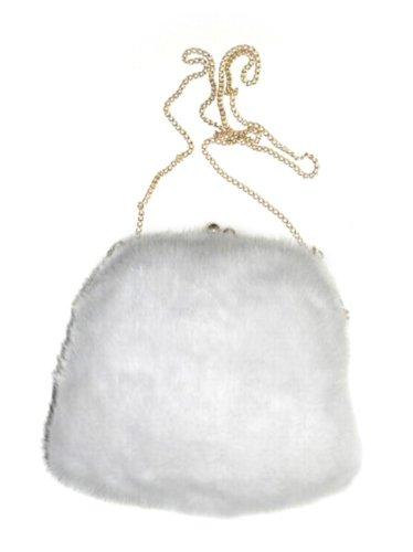 FursNewYork pleine vison peau manchon de fourrure sac à main White Mink