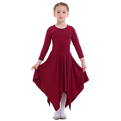 OBEEII Vestito Bambine Liturgico Manica Lunga Asimmetrico Abito da Balletto Ginnastica Classico Danza Combinazione Costume 11-12 Anni Borgogna