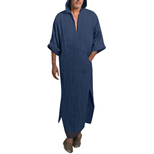UJUNAOR Männer Kapuzenrobe Einfarbige Kaftan Herren Ethnische Roben Leinen Tasche Mit Kapuze(Marine,CN L)