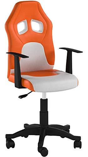 hjh OFFICE 670750 TEEN RACER AL Silla de oficina para niños, naranja/blanco