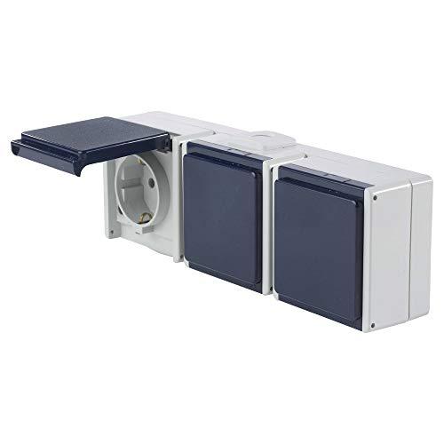 as - Schwabe Aufputz-Steckdose - 3-Fach Außen-Steckdose - Robuste Mehrfach-Verteilersteckdose (230 V / 10 A / 16 A) für Feucht-Raum & Außen-Bereich - IP54 - hellgrau/blau - Made in Germany I 62464
