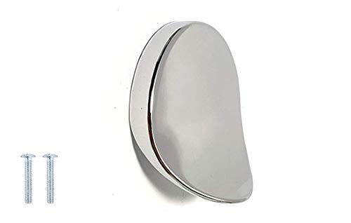 Türknauf/Schubladengriff, rund, poliertes Chrom, 50 mm, Schwarz/Rot - 32mm Hole Centre - poliertes chrom -