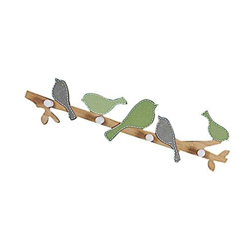 Winomo-Perchero pared ganchos madera pájaros