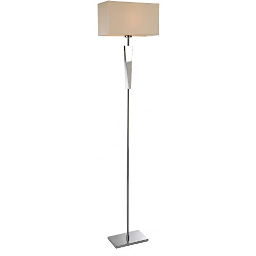 Tall, Kronleuchter (Modern Polished Chrome Tall Floor Standing Lamp, 1 Bulb, Cream Rectangular Box Shade, E27 (Mansion Floor Lamp), FL8228PSTI4L | ideas4lighting)