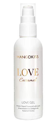 MangoKiss LOVE CARAMEL - Essbares Gleitgel mit Karamell Geschmack - Veganes Gleitmittel auf Wasserbasis - kondomgeeignet, für Oralverkehr und Sex