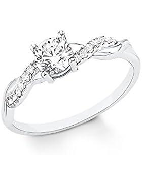 s.Oliver Damen-Ring klassisch elegant Verlobungsring 925 Sterling Silber rhodiniert Zirkonia weiß