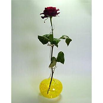 Rosenvase Einblumenvase Glas Lauscha Einschmelzung in gelb Vase für Rosen