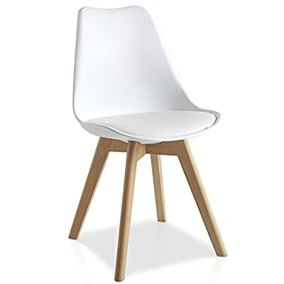 Mmilo® Tulip Dining Chair/Office chair with Solid legs Padded Designer Replica - cheap UK light store.