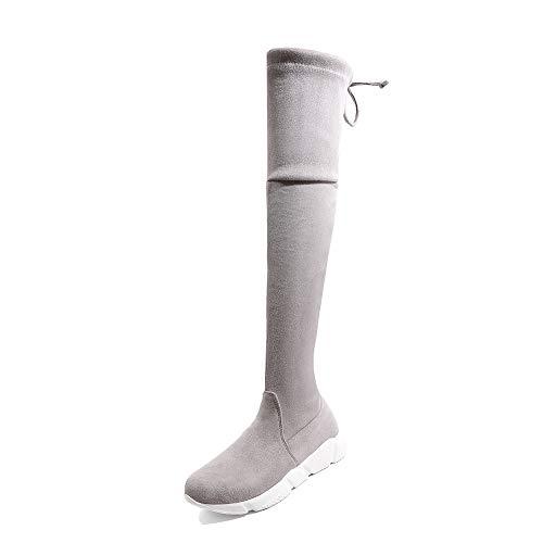Plattform Spitze Knie Stiefel (QINGMM Frauen Wildleder Über Den Knie Stiefel 2018 Herbst Winter Lässige Plattform Spitze Stiefel Größe 40-43,Grau,37)