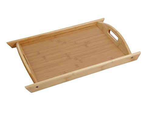 Plateau en bois de bambou en forme pétrin avec poignées pour petit déjeuné au lit ou servir l'apéritif et les amuses bouches Extrêmement robuste et très esthétique pour le plaisir des yeux, choisir:37.5 x 27.5 x 2 cm Tablett-02