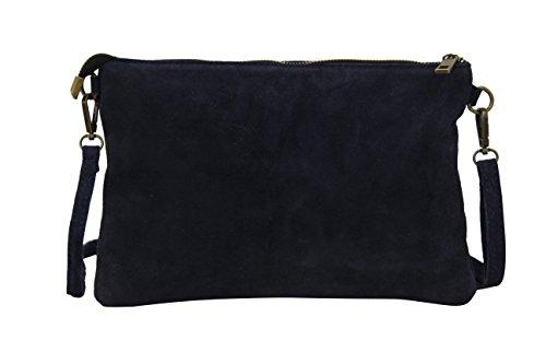 AMBRA Moda Damen Wildleder Clutch Handtasche Umhängetasche Veloursleder Tasche WL813 Dunkelblau