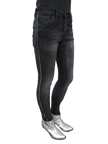 a7377c5f4b39 Jewelly by Lexxury Baggy Boyfriend Damen Stretch Hose Knopfleiste Seiten  Streifen (XL-42, Black)