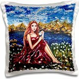 Yelena Rubin Painting Figurative and Landscape - Young girl in a maroon dress pulling daisy petals. Life change every day we wonder how is turns out - 16x16 inch Pillow Case