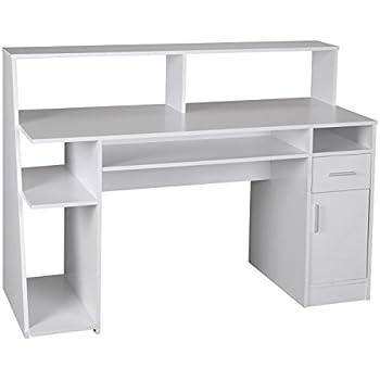 Schreibtisch büro modern  WOHNLING Multifunktion Design Schreibtisch Computertisch weiß ...