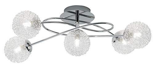 Elegante Deckenleuchte in Chrom Chrom 5x G9 bis zu 28 Watt 230V aus Metall & Drahtgeflecht Halogen warmweißes Licht Schlafzimmer Wohnzimmer Lampen Leuchte Beleuchtung innen - Metall-halogen-licht-lampe