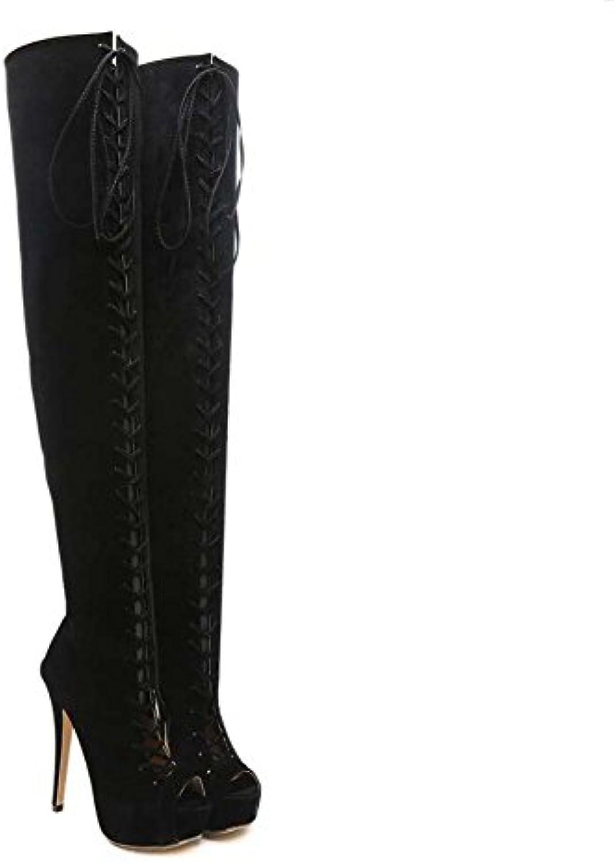 Muslo botas altas gladiadores mujeres 14cm Stiletto Peep Toe cruzado vestido de la correa Botas Sexy Pure Color...