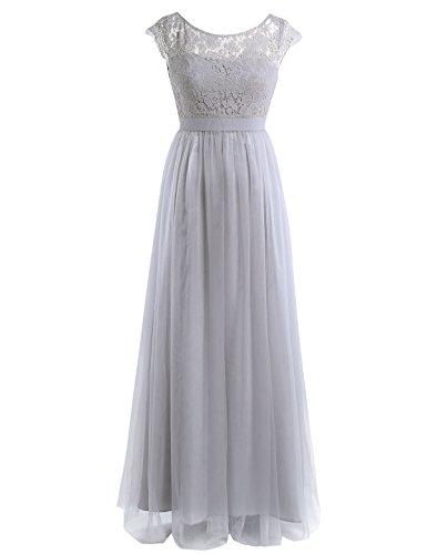 iEFiEL Damen Kleid festlich Spitzenkleid Cocktailkleid Ärmellos Elegante Hochzeit Kleider Lange...