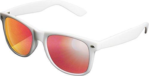 MSTRDS Likoma Mirror Unisex Sonnenbrille Für Damen und Herren mit verspiegelten Gläsern, white/red