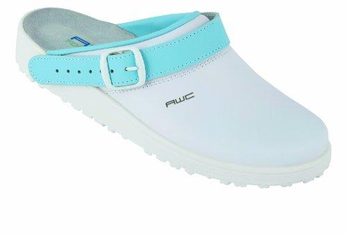 AWC Sandale weiß/mint, Ristpolster, Zoccoli donna Bianco (Weiß/Hellblau)