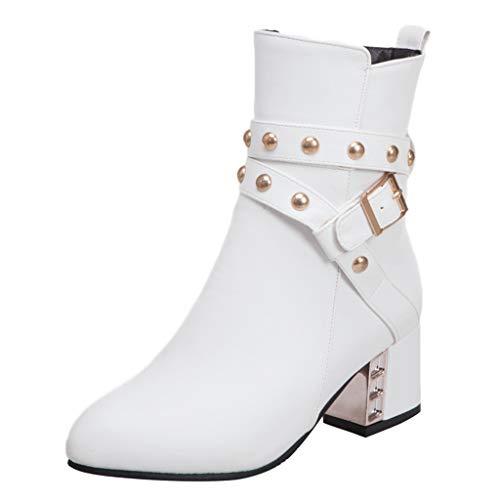 AIFGR Stiefeletten Damen, Stiefel mit Dicken Sohlen und hochhackigen Damenschuhen Reißverschluss Boots schwarz mit Strass und Perlen Schnür Biker Boots