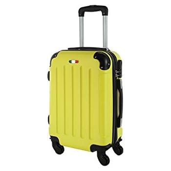 Todeco - Trolley de Voyage, Bagage à Main - Dimensions: 42 x 40,5 x 23 cm - Matériau: Plastique ABS - Coins protégés moulés, Bagage de cabine 46 cm, Argent, ABS
